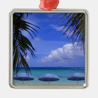 umbrellas on beach, St. Maarten, Caribbean Silver-Colored Square Decoration