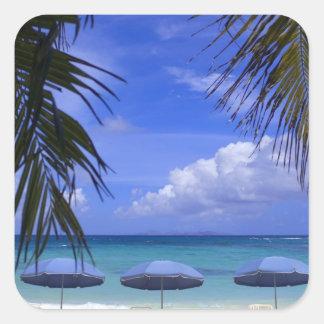 umbrellas on beach, St. Maarten, Caribbean Square Sticker