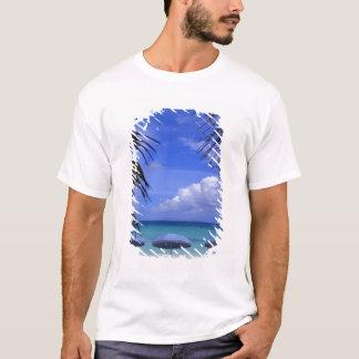 umbrellas on beach, St. Maarten, Caribbean T-Shirt