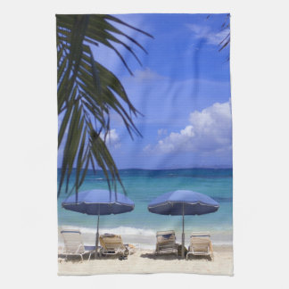 umbrellas on beach, St. Maarten, Caribbean Tea Towel