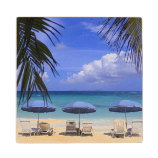 umbrellas on beach, St. Maarten, Caribbean Wood Coaster