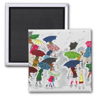 Umbrellas Square Magnet