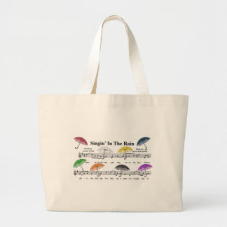 Umbrellas w/Sheet Music Background Large Tote Bag