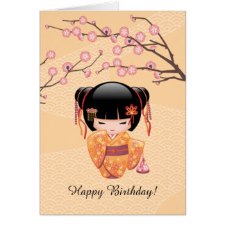 Ume Kokeshi Doll - Japanese Peach Geisha Birthday Card