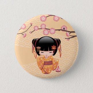 Ume Kokeshi Doll - Japanese Peach Geisha Girl 6 Cm Round Badge