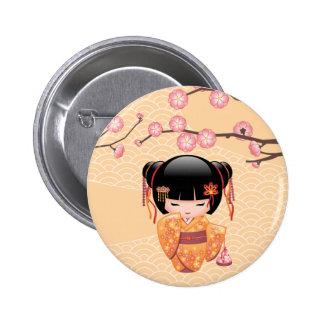 Ume Kokeshi Doll - Japanese Peach Geisha Girl 6 Cm Round Badge