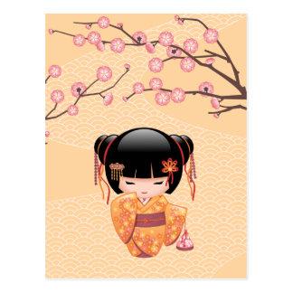 Ume Kokeshi Doll - Japanese Peach Geisha Girl Postcard