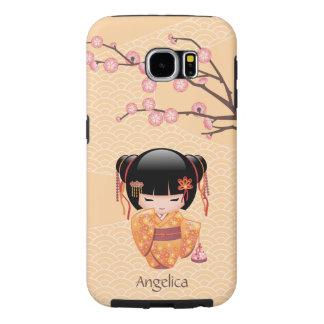 Ume Kokeshi Doll - Japanese Peach Geisha Girl Samsung Galaxy S6 Cases