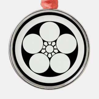 Umebachi-style plum blossom in circle christmas ornament