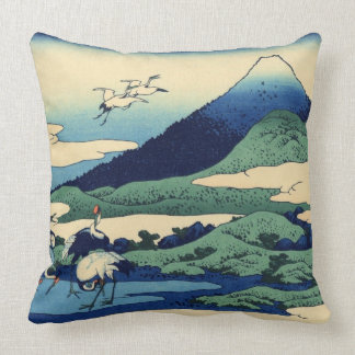 Umegawa in Sagami Province Cranes and Mount Fuji Throw Pillow