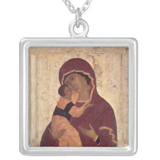 Umilenie Virgin of Wladimir, Moscow School Square Pendant Necklace