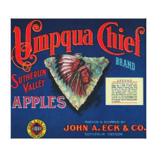 Umpqua Chief Apple Crate LabelSutherlin, OR Canvas Print