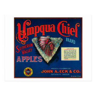 Umpqua Chief Apple Crate LabelSutherlin, OR Postcard
