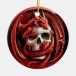 Un cr�ne pour Halloween - Round Ceramic Decoration
