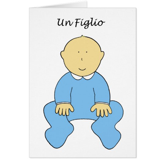 Un Figlio, it's a boy, new baby in Italian. Card