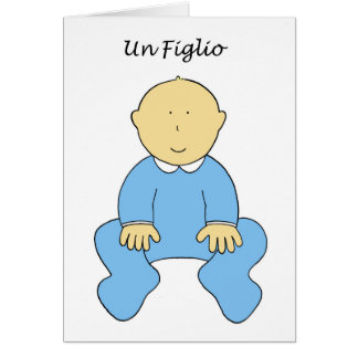 Un Figlio, it's a boy, new baby in Italian. Greeting Card