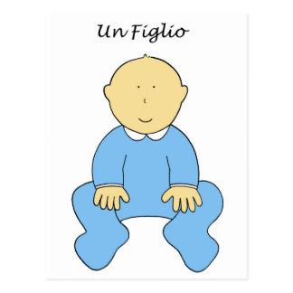 Un Figlio, it's a boy, new baby in Italian. Postcard