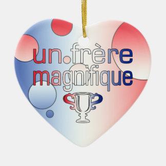 Un Frère Magnifique France Flag Colors Ceramic Heart Decoration