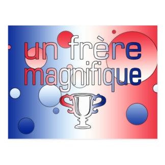 Un Frère Magnifique France Flag Colors Postcard