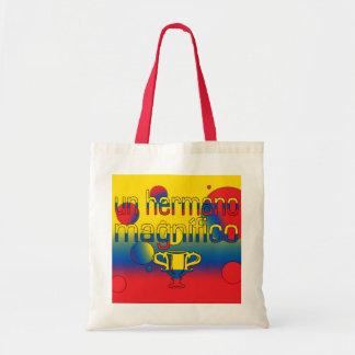 Un Hermano Magnífico Ecuador Flag Colors Pop Art Canvas Bags
