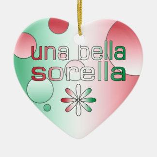Una Bella Sorella Italy Flag Colors Pop Art Ceramic Heart Decoration