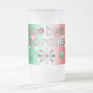 Una Bella Sorella Italy Flag Colors Pop Art Frosted Glass Mug