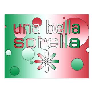 Una Bella Sorella Italy Flag Colors Pop Art Postcard