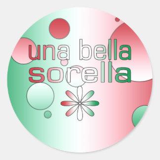 Una Bella Sorella Italy Flag Colors Pop Art Round Sticker