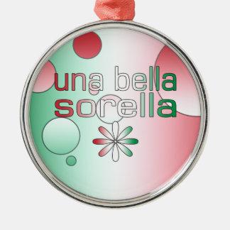 Una Bella Sorella Italy Flag Colors Pop Art Silver-Colored Round Decoration