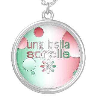 Una Bella Sorella Italy Flag Colors Pop Art Silver Plated Necklace