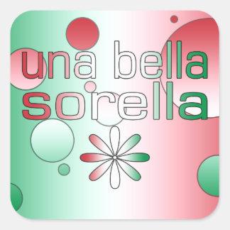 Una Bella Sorella Italy Flag Colors Pop Art Square Sticker