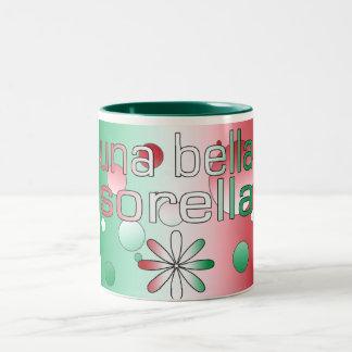 Una Bella Sorella Italy Flag Colors Pop Art Two-Tone Coffee Mug