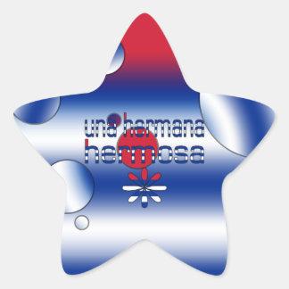 Una Hermana Hermosa Cuba Flag Colors Pop Art Star Sticker