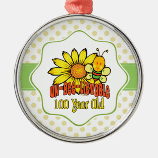 Unbelievable 100th Birthday with Sunflower and Bee Christmas Ornament