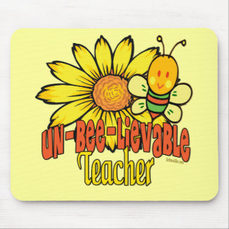 Unbelievable Teacher with Sunflowers and Bees Mouse Mat