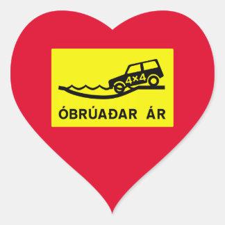 Unbridged River, Traffic Sign, Iceland Heart Sticker
