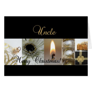 uncle Christmas black White Gold collage Greeting Cards