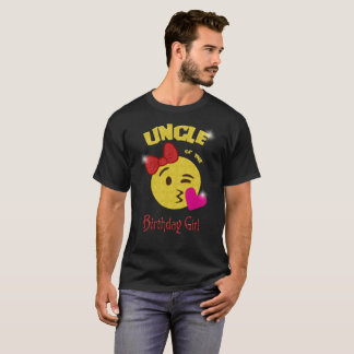 Uncle of the Birthday Girl Emoji Birthday Party T-Shirt