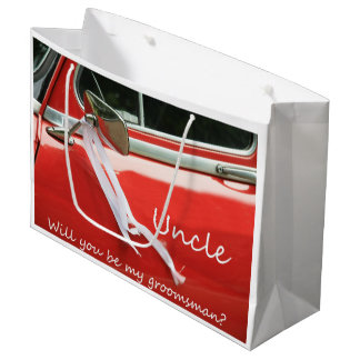Uncle  Please be my Groomsman - invitation Large Gift Bag