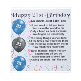 Uncle Poem - 21st Birthday Notepad
