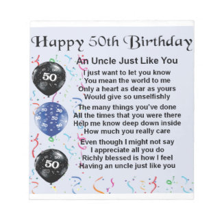 Uncle poem - 50th Birthday Notepad