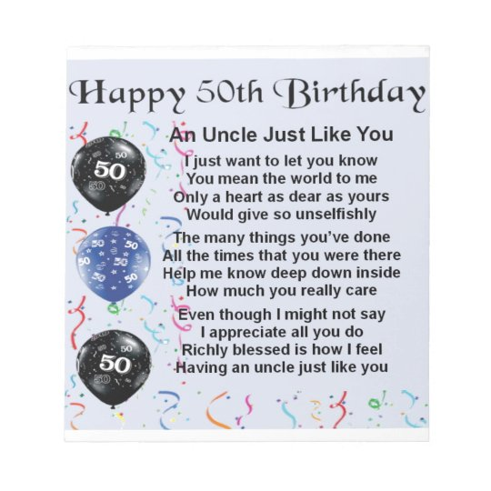 Uncle poem - 50th Birthday Notepads