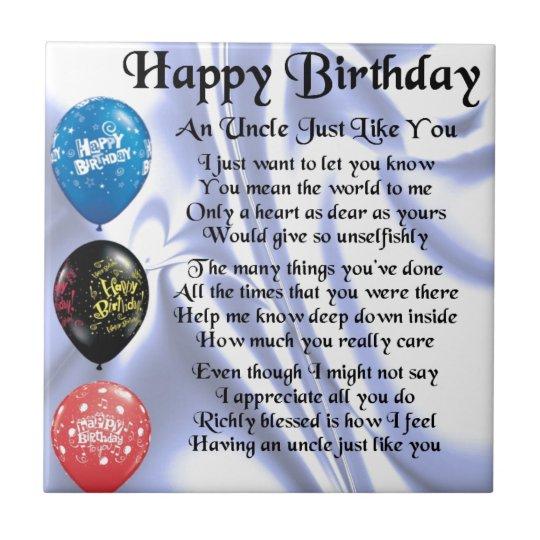 Uncle Poem - Happy Birthday Tile