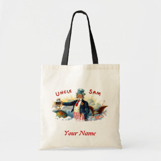 Uncle Sam 4th Of July Tote Choose Bag Size&Ur Text