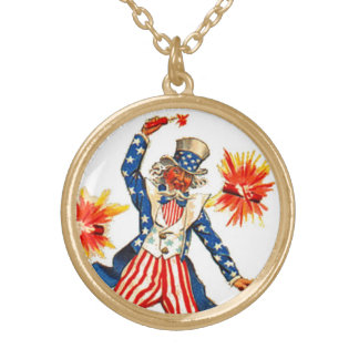 Uncle Sam 4th of July Vintage Postcard Art Charm Gold Plated Necklace