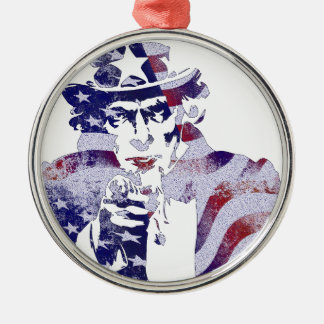 Uncle Sam America USA National Flag Independence D Silver-Colored Round Decoration