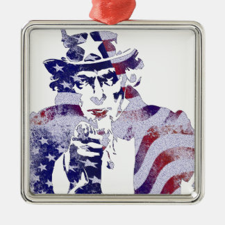 Uncle Sam America USA National Flag Independence D Silver-Colored Square Decoration