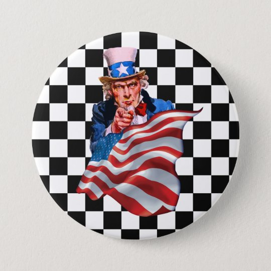 Uncle Sam and American flag 7.5 Cm Round