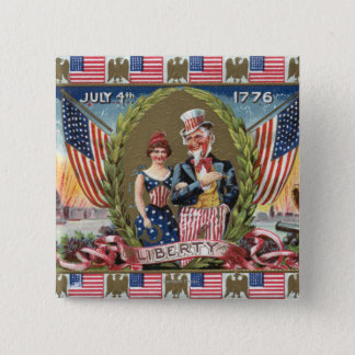 Uncle Sam and Lady Liberty 15 Cm Square Badge
