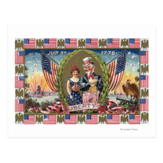Uncle Sam and Lady Liberty Postcard